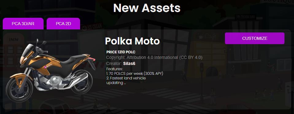 Motor op de Polka City marktplaats