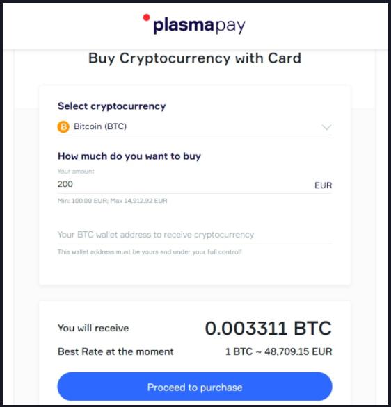 PlasmaPay fiat transactie